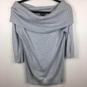 Express Off the Shoulder Light Gray Sweater